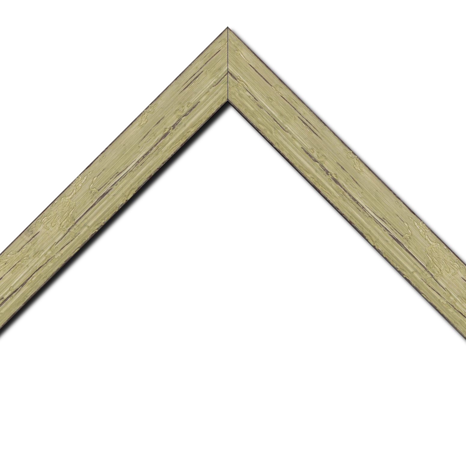 Baguette bois profil plat largeur 4.3cm couleur vert délavé finition aspect vieilli antique