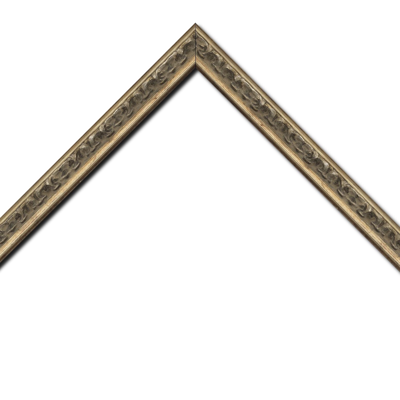 Baguette bois profil incurvé largeur 3cm argent chaud patiné