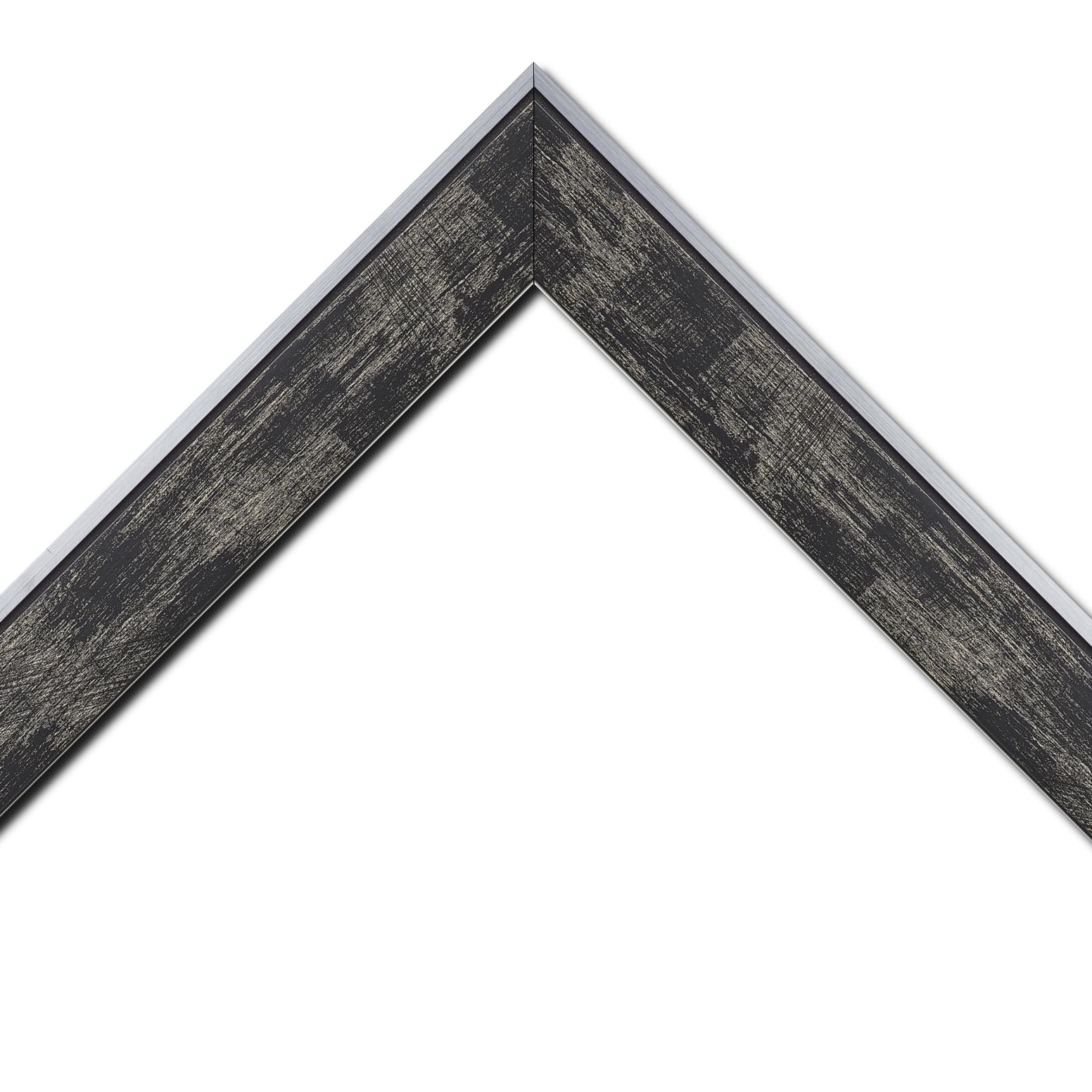 Baguette bois profil plat largeur 5.4cm noir sur argent filet argent extérieur