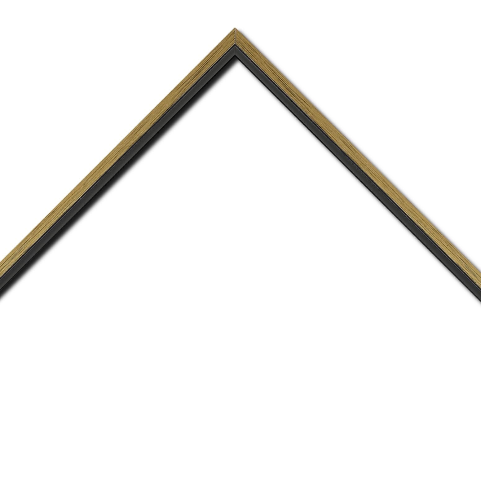 Baguette bois profil plat largeur 1.6cm couleur or contemporain filet noir en retrait de la face du cadre de 6mm assurant un effet très original