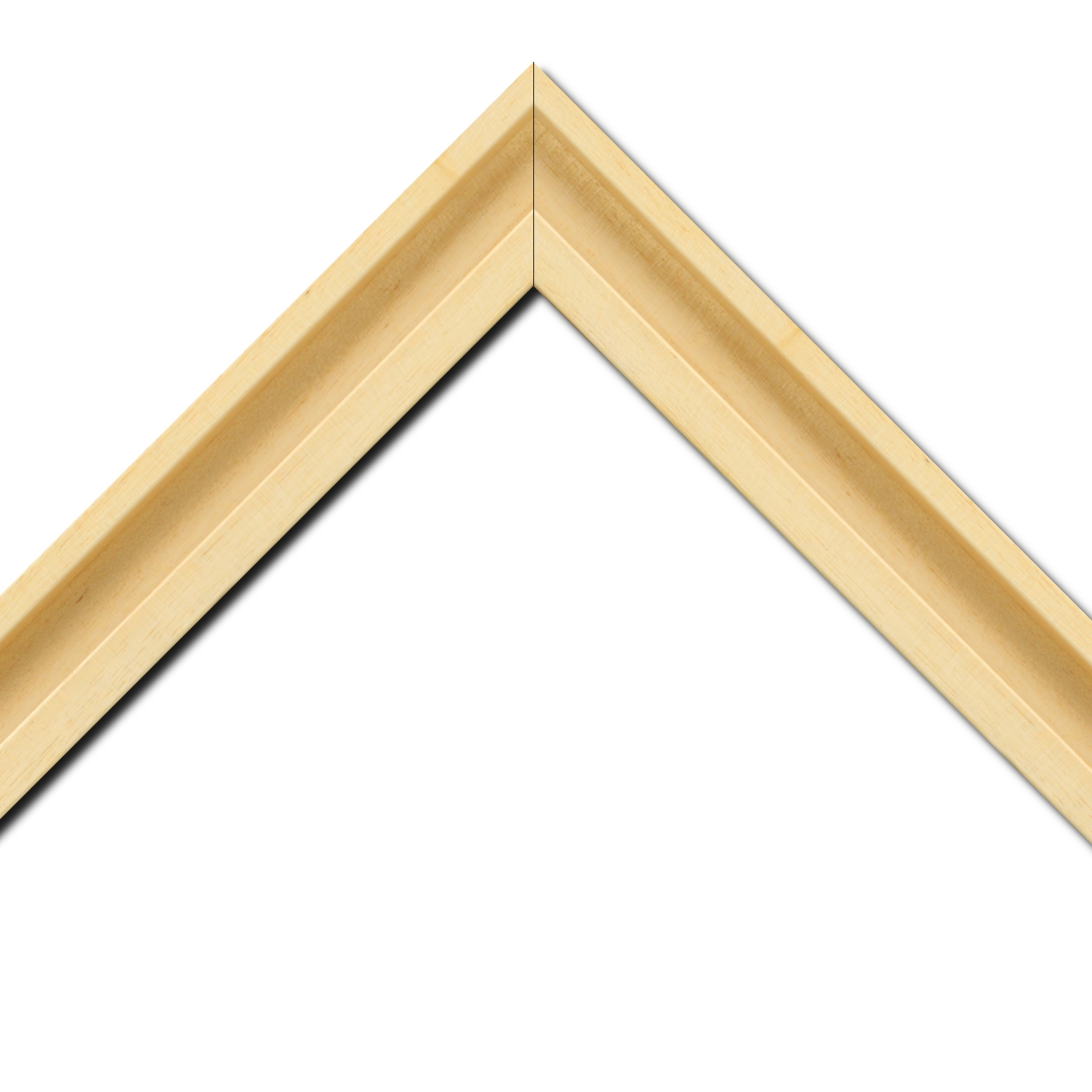 Baguette bois caisse américaine largeur 4.5cm naturel satiné (spécialement concu pour les supports papier necessitant une protection et un isorel assurant le maintien de l'ensemble : le sujet se met à l'intérieur du cadre ) profil en u