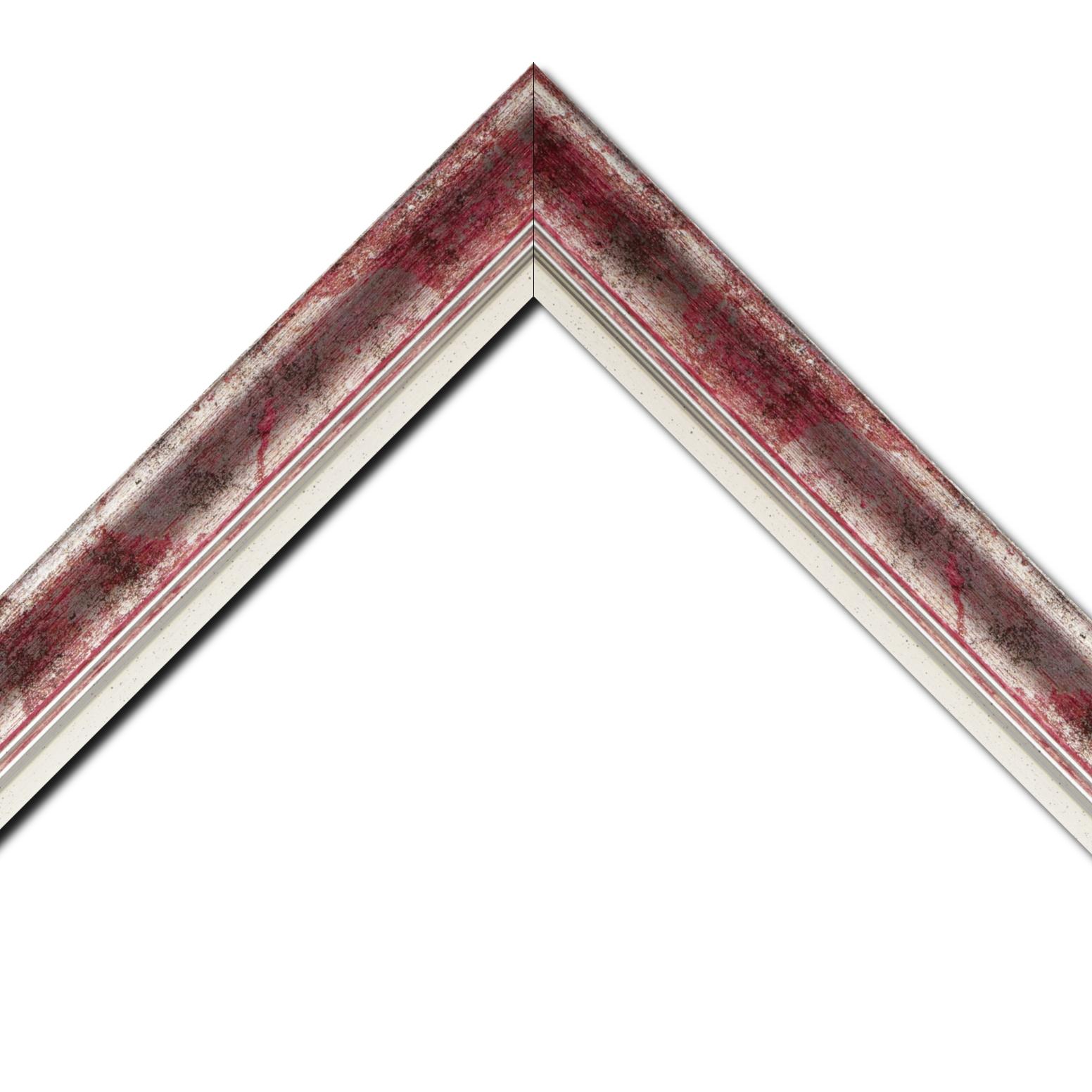 Baguette bois profil incurvé largeur 5.7cm de couleur rose fushia fond argent marie louise blanche mouchetée filet argent intégré