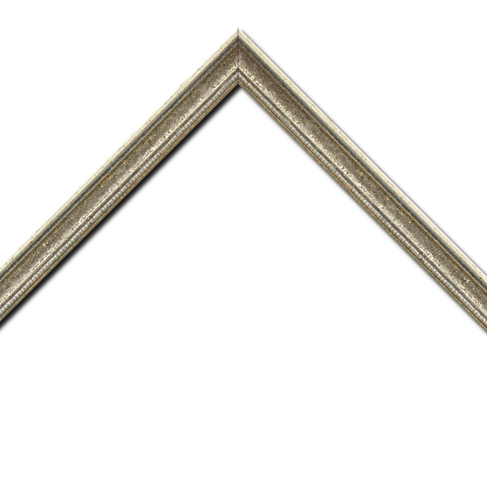 Baguette bois profil incuvé largeur 2.4cm  argent antique gorge argent filet perle or