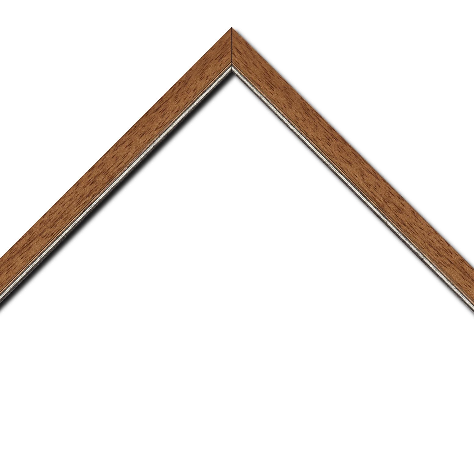 Baguette bois profil plat largeur 2.5cm couleur marron ton bois filet argent
