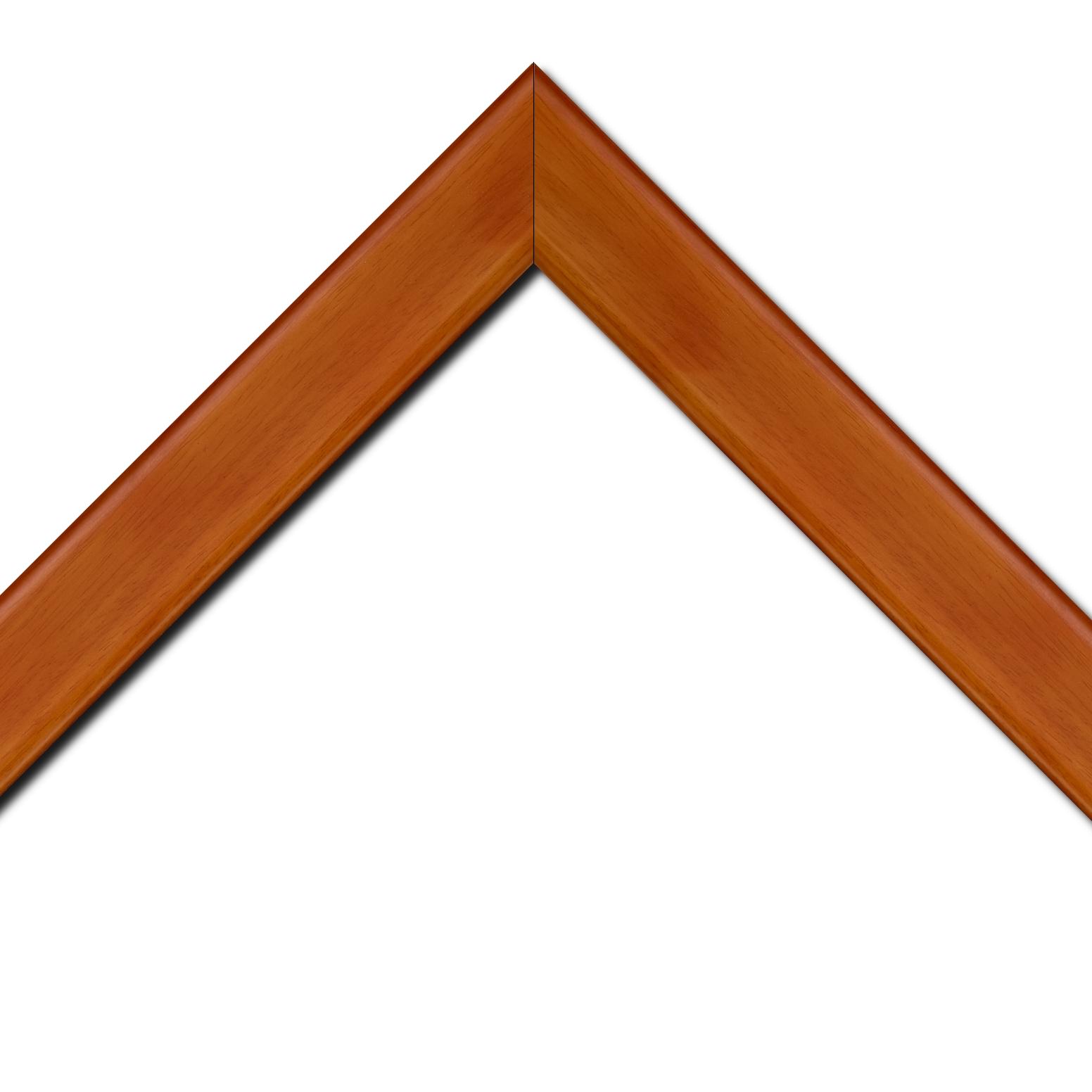 Baguette bois profil plat bord arrondi largeur 4.9cm de couleur mandarine