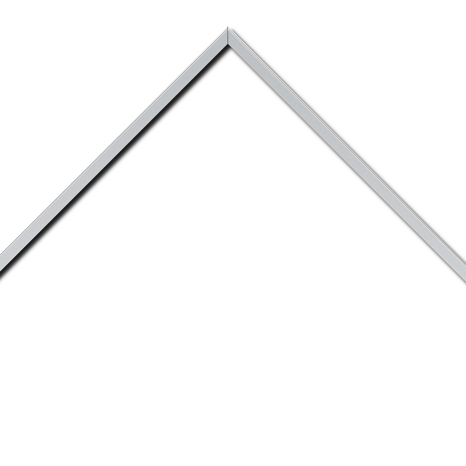 Baguette aluminium profil plat largeur 1cm couleur argent mat satiné (mise en place du sujet très rapide et très simple,sans démontage du cadre car angles sertis ) encadrement livré monté prêt à l'emploi (cadre fabriqué à vos mesures dans nos ateliers de besançon)