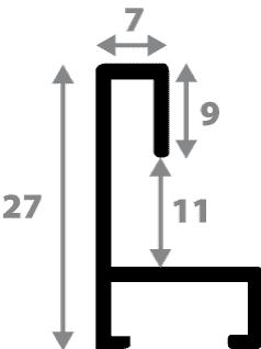 Baguette aluminium profil plat largeur 7mm, couleur argent poli ,(le sujet qui sera glissé dans le cadre sera en retrait de 9mm de la face du cadre assurant un effet très contemporain) mise en place du sujet rapide et simple: assemblage du cadre par double équerre à vis (livré avec le système d'accrochage qui se glisse dans le profilé) encadrement non assemblé,  livré avec son sachet d'accessoires