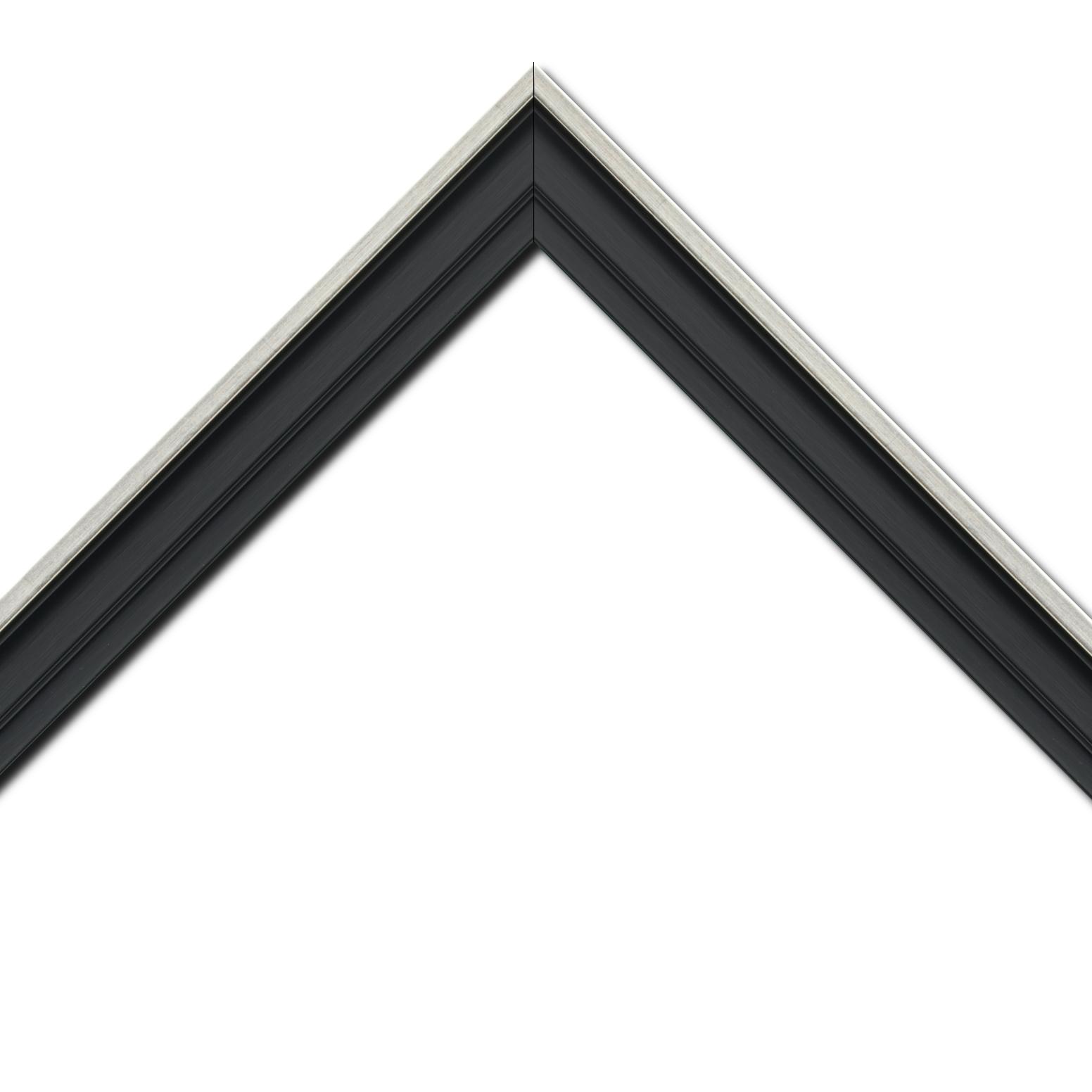 Baguette bois caisse américaine profil escalier largeur 4.4cm noir mat  filet argent (spécialement conçu pour les châssis d'une épaisseur jusqu'à 2.5cm )