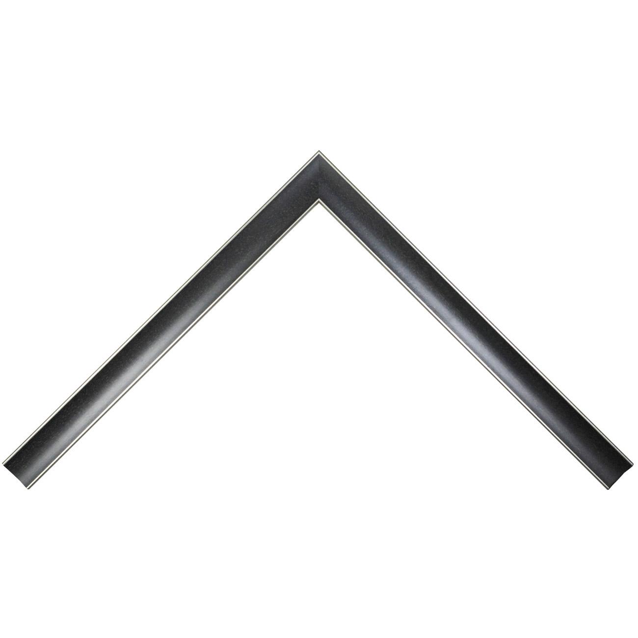 Baguette bois profil concave largeur 2.9cm couleur noir anthracite satiné filet argent de chaque coté