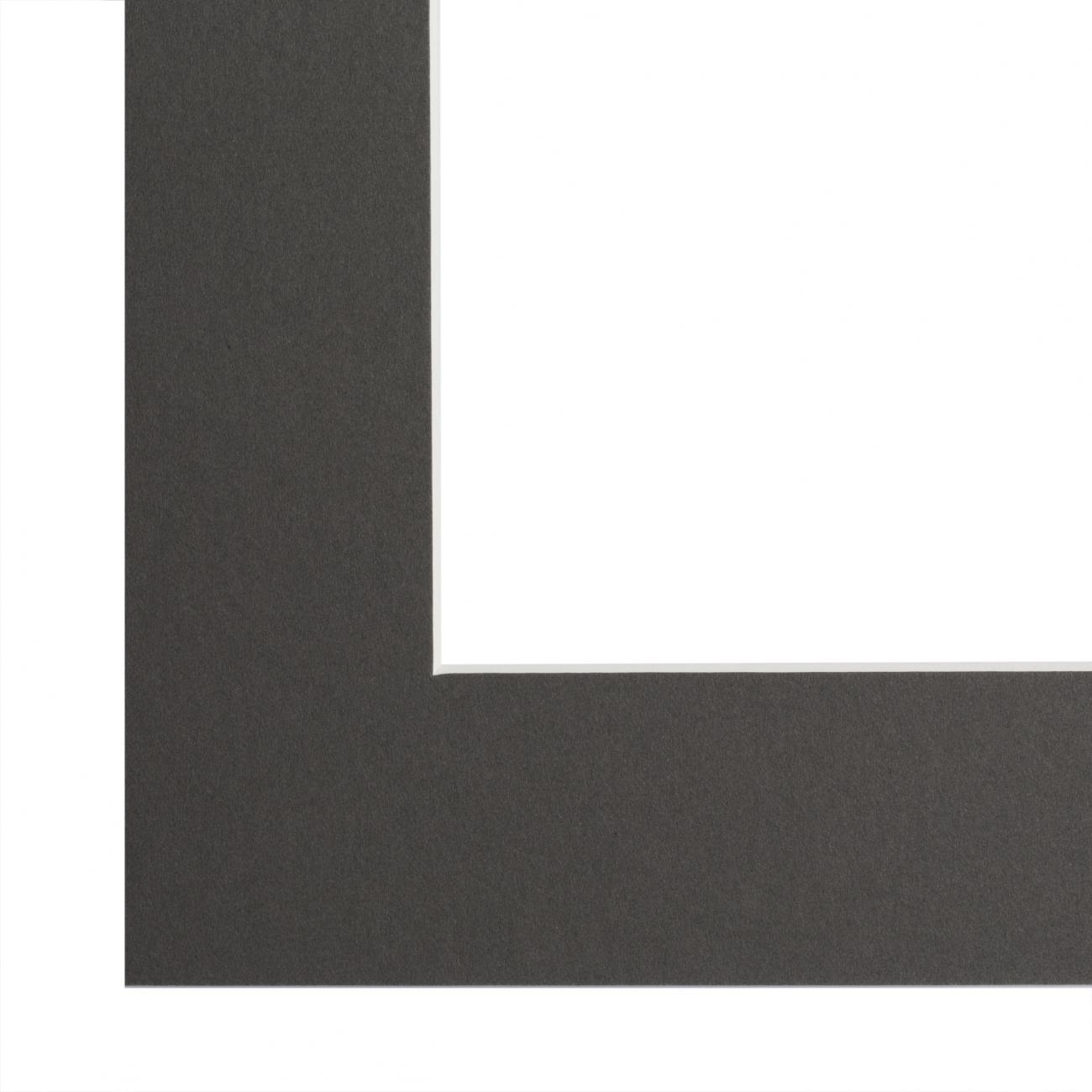 Passe-partout gris foncé, âme blanche, épaisseur 1,4mm