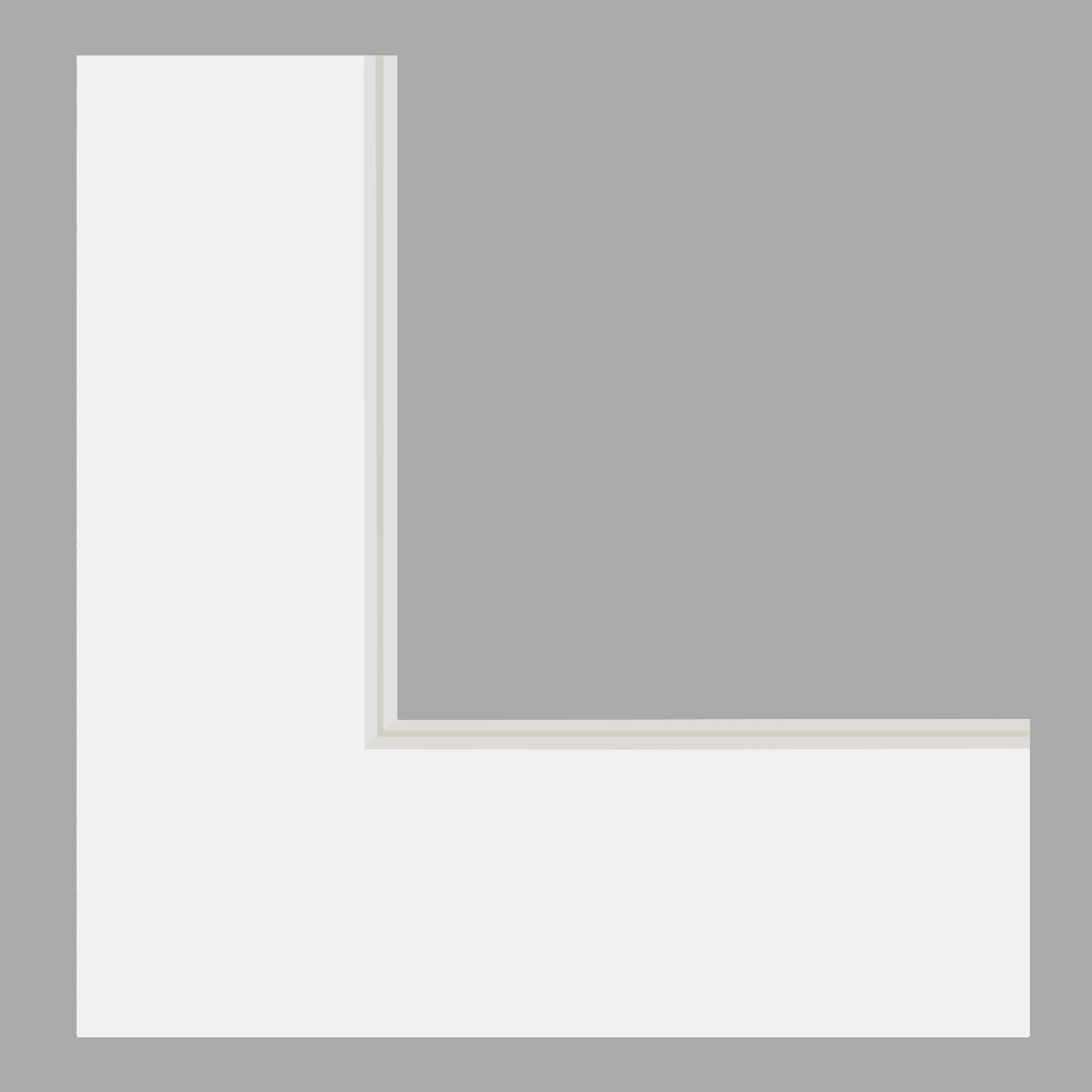 Double passe-partout blanc cassé, filet gris clair, âme blanche, épaisseur 2x1,4mm
