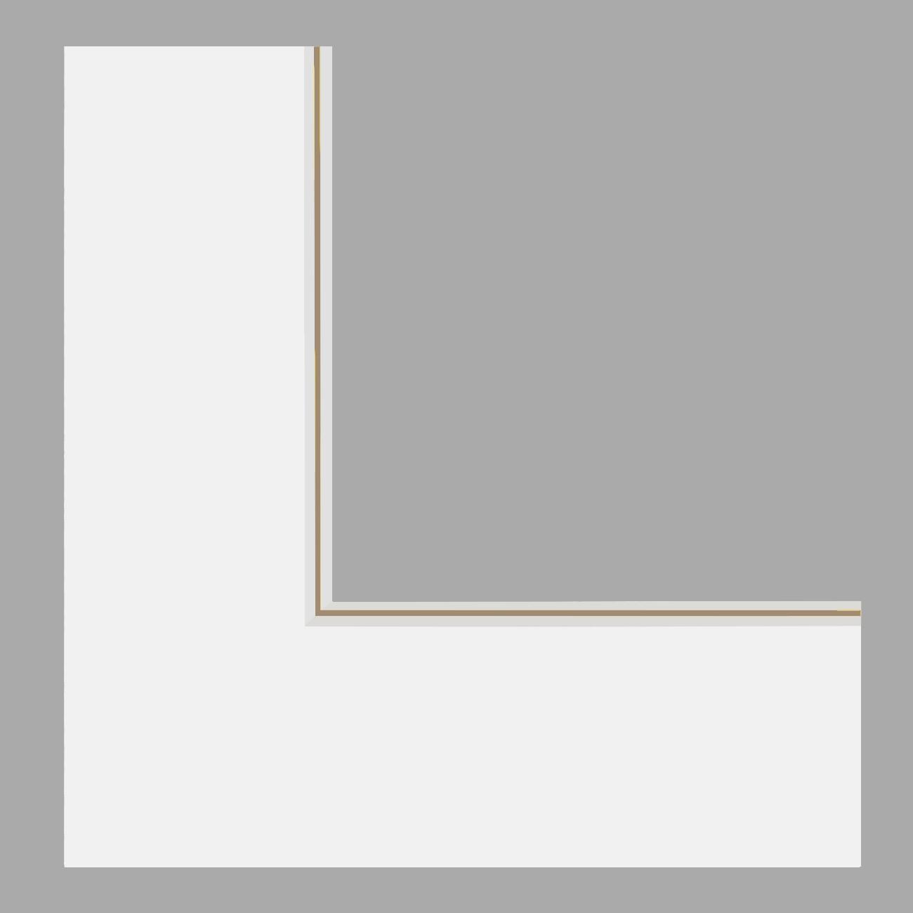 Double passe-partout blanc cassé, filet sable, âme blanche, épaisseur 2x1,4mm