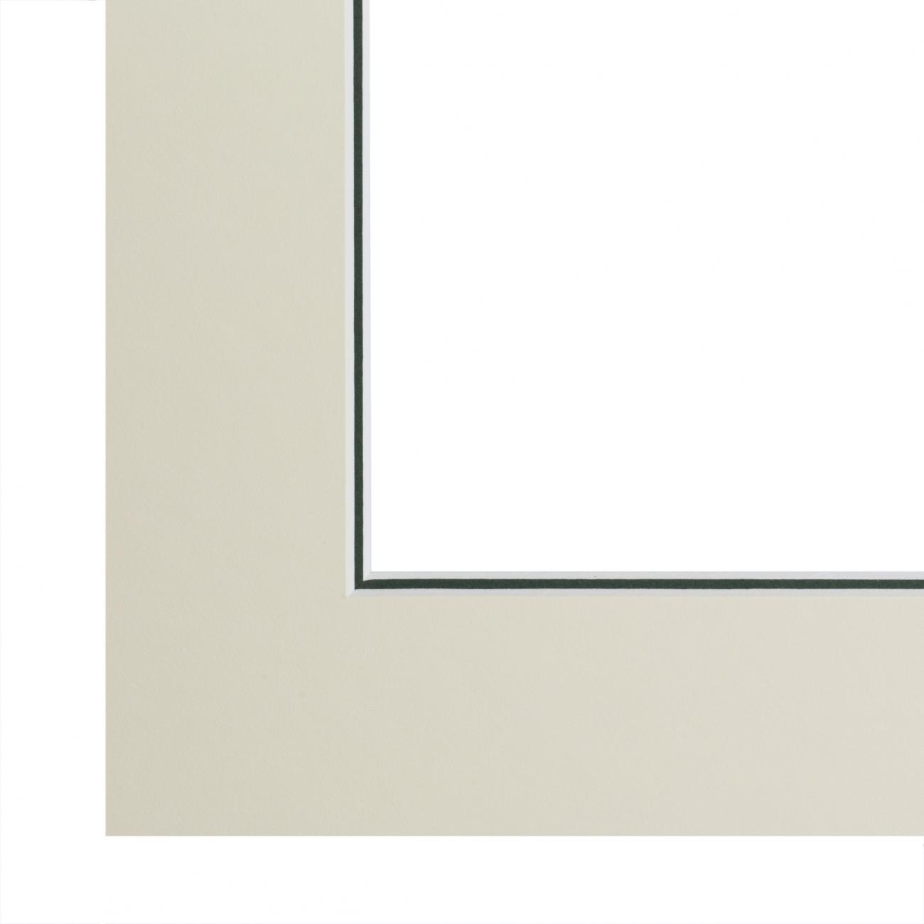 Double passe-partout crème, filet vert olive, âme blanche, épaisseur 2x1,4mm