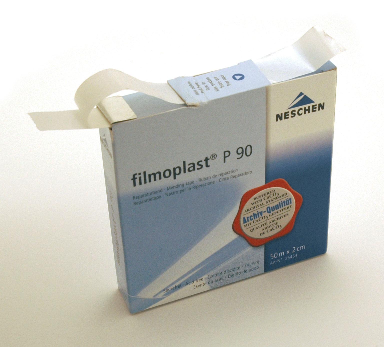 rouleau papier blanc adhésif utilisé pour fixer les documents, ph neutre, prise différée, boite distributrice de 50 mètres largeur 2cm