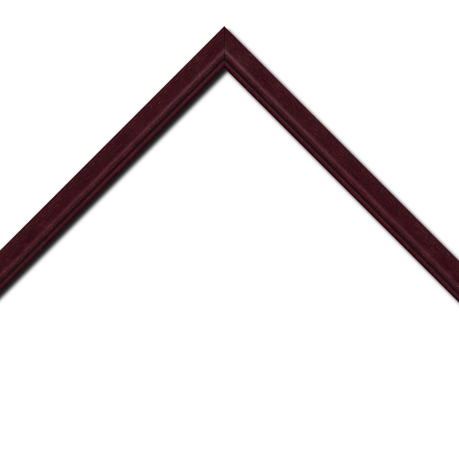 Baguette bois profil bombé largeur 2.4cm couleur bordeaux lie de vin filet noir