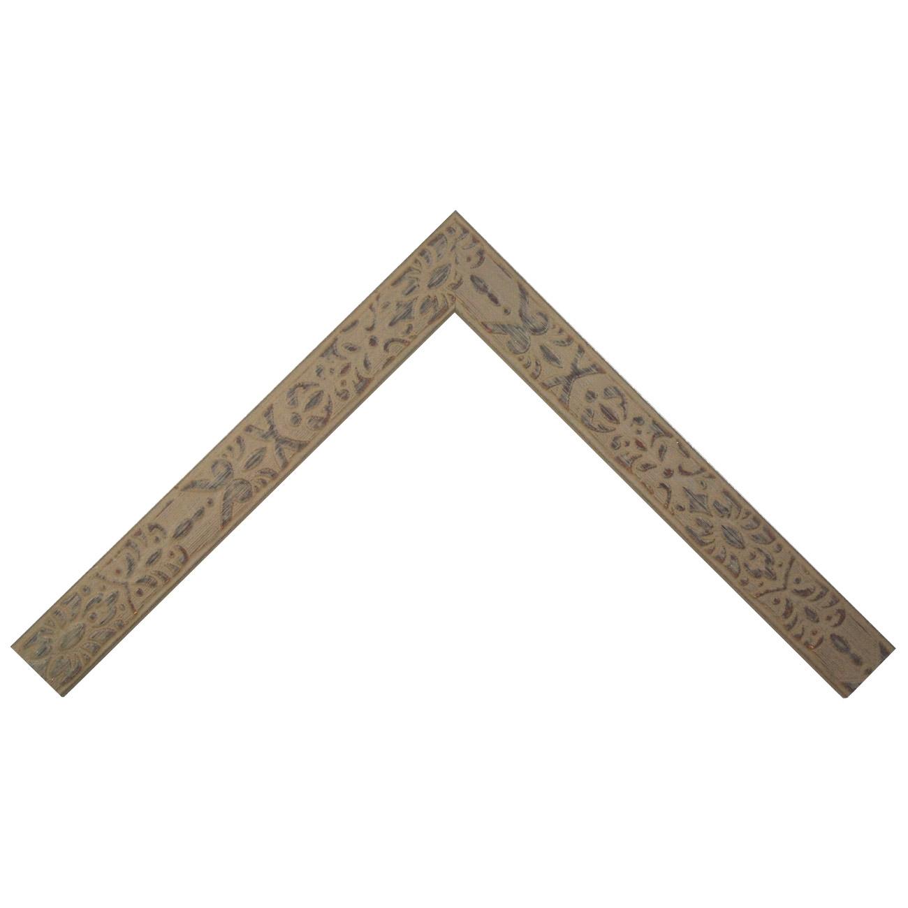 Baguette bois profil plat largeur 4cm couleur terre décapé décor frise en relief