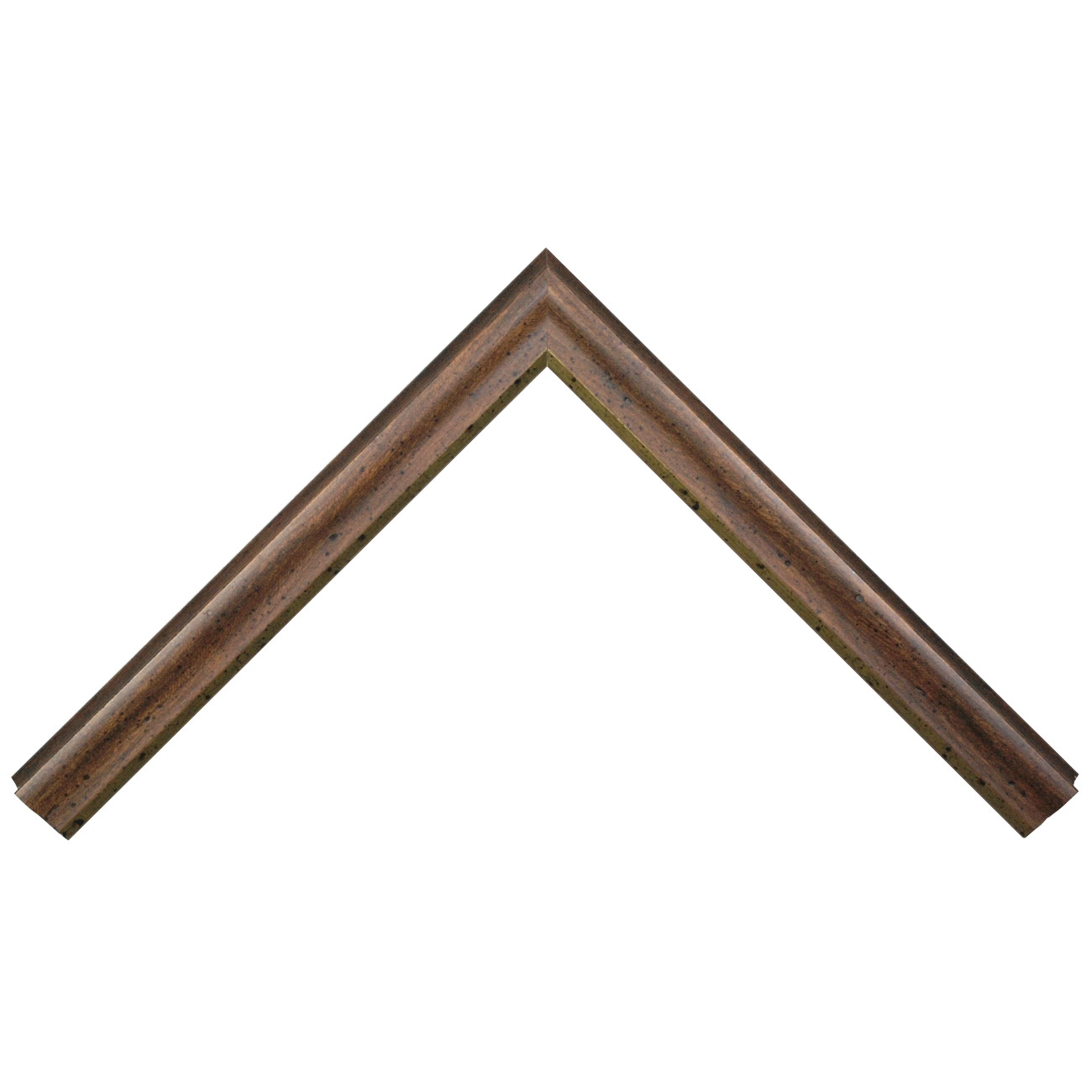 Baguette bois profil arrondi largeur 4cm couleur marron rustique filet or