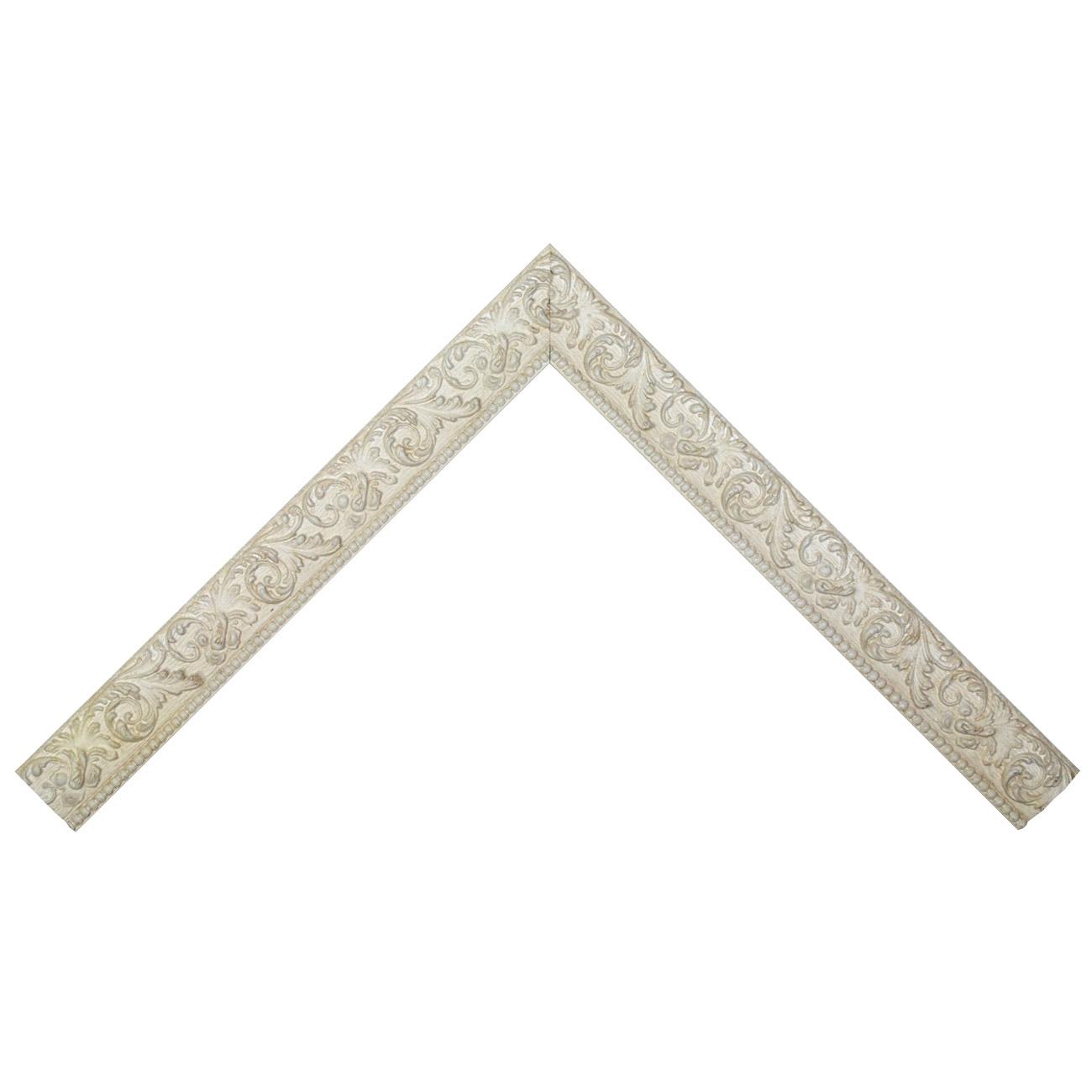 Baguette bois profil plat largeur 3.9cm couleur blanc antique motif rosace filet perle
