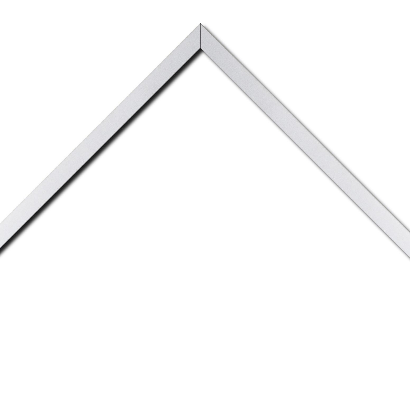 Baguette bois recouvert aluminium profil plat largeur 1.6cm argent poli  bord droit