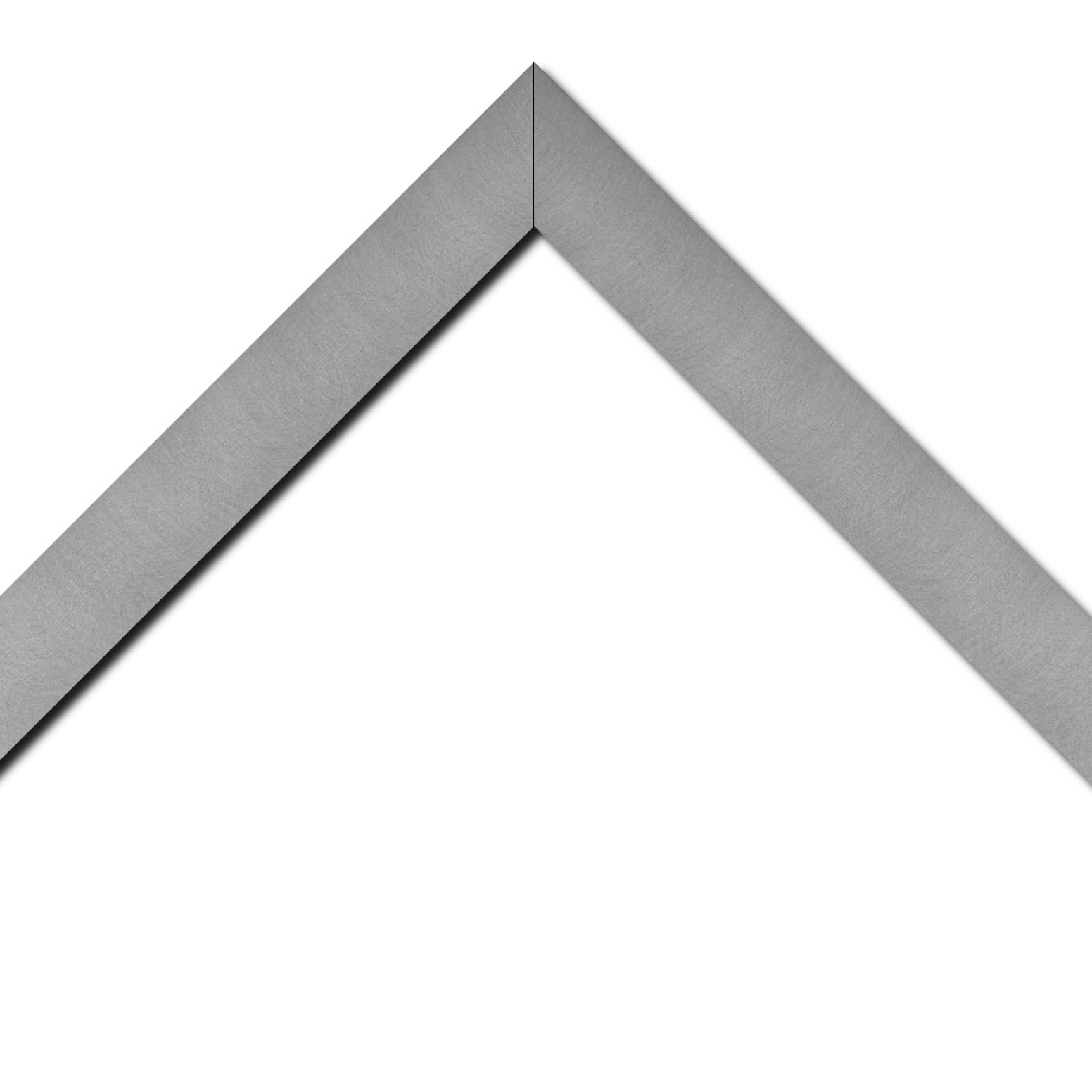 Baguette médium recouvert aluminium profil plat largeur 4cm couleur argent brossé