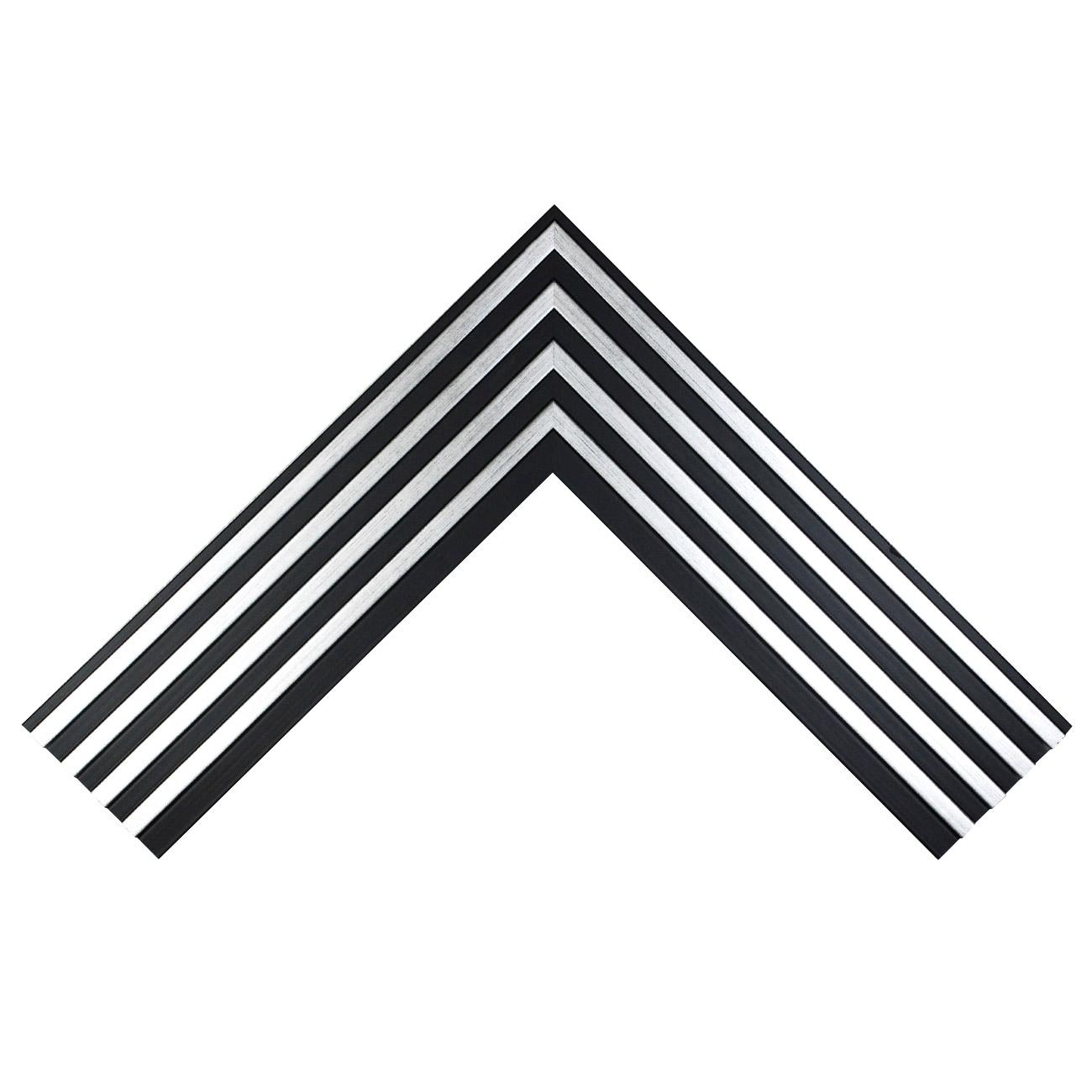 Baguette bois profil plat largeur 8.9cm  couleur noir mat 4 colonnes argent  en relief