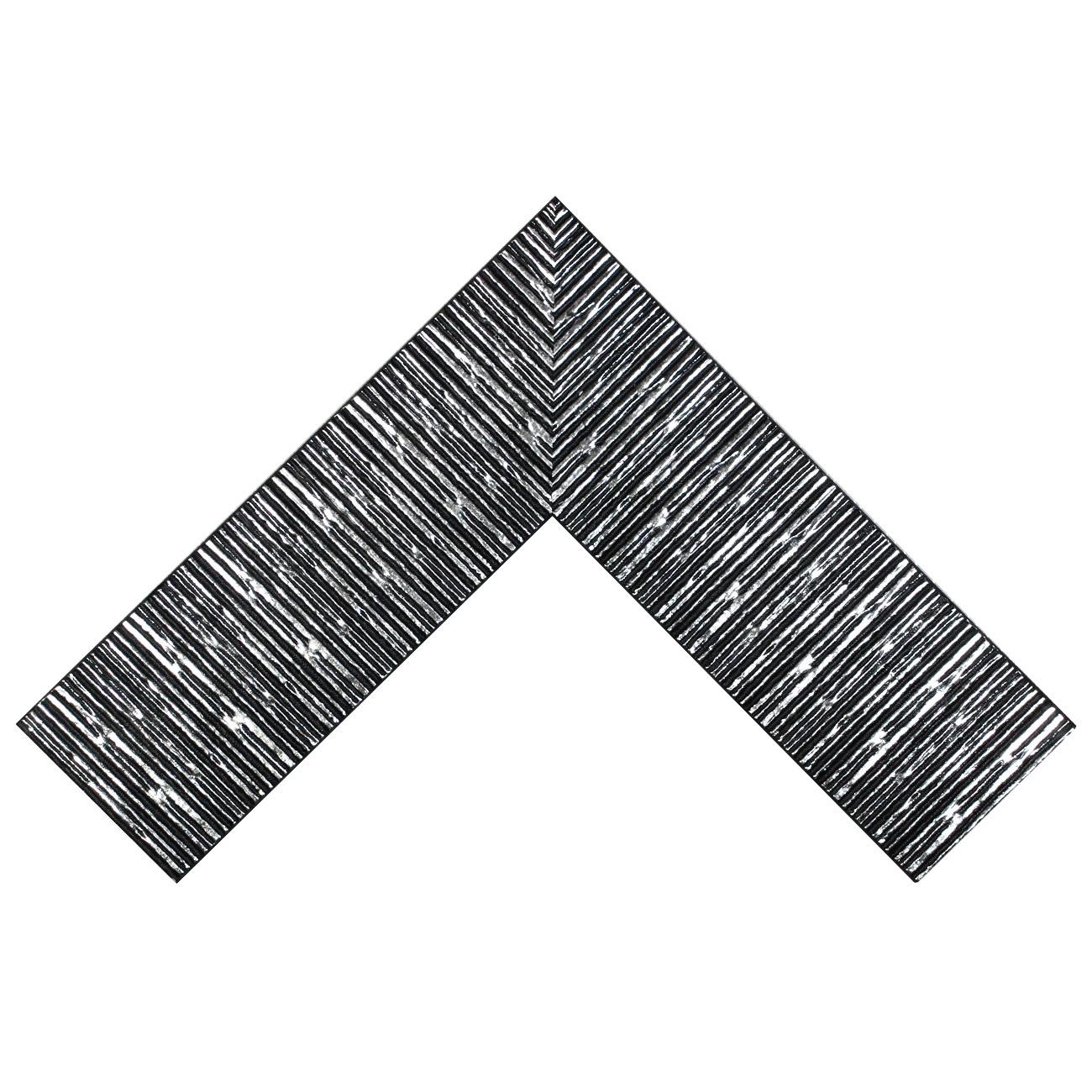 Baguette bois profil plat largeur 10.5cm couleur noir mat strié argent ckromé en relief
