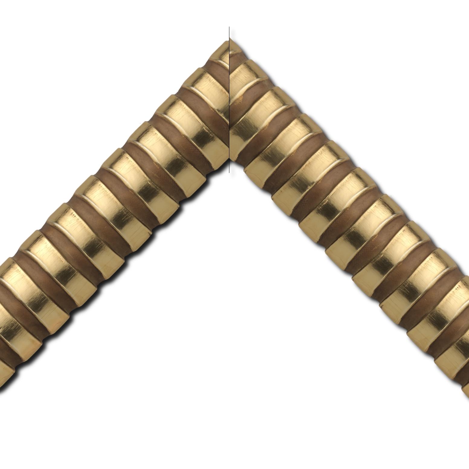 Baguette bois profil demi rond largeur 8.3cm or brillant décor arcade en relief creux marron cuivré