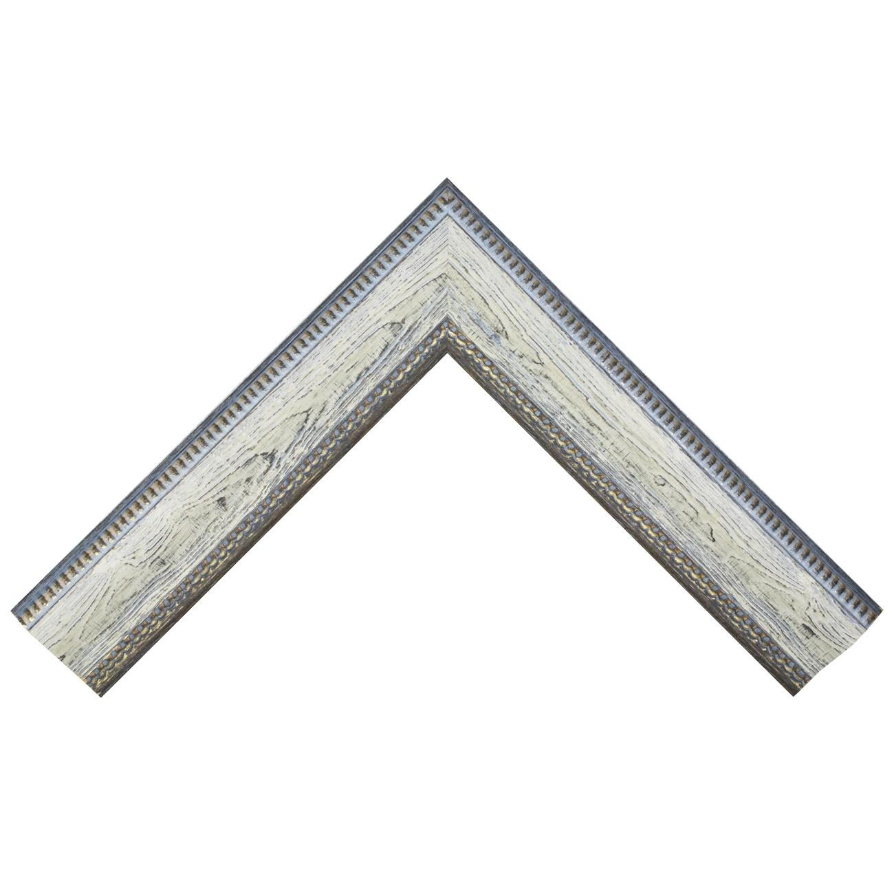 Baguette bois profil incurvé largeur 7cm couleur bleu blanchie  aspect veiné liseret or noirci