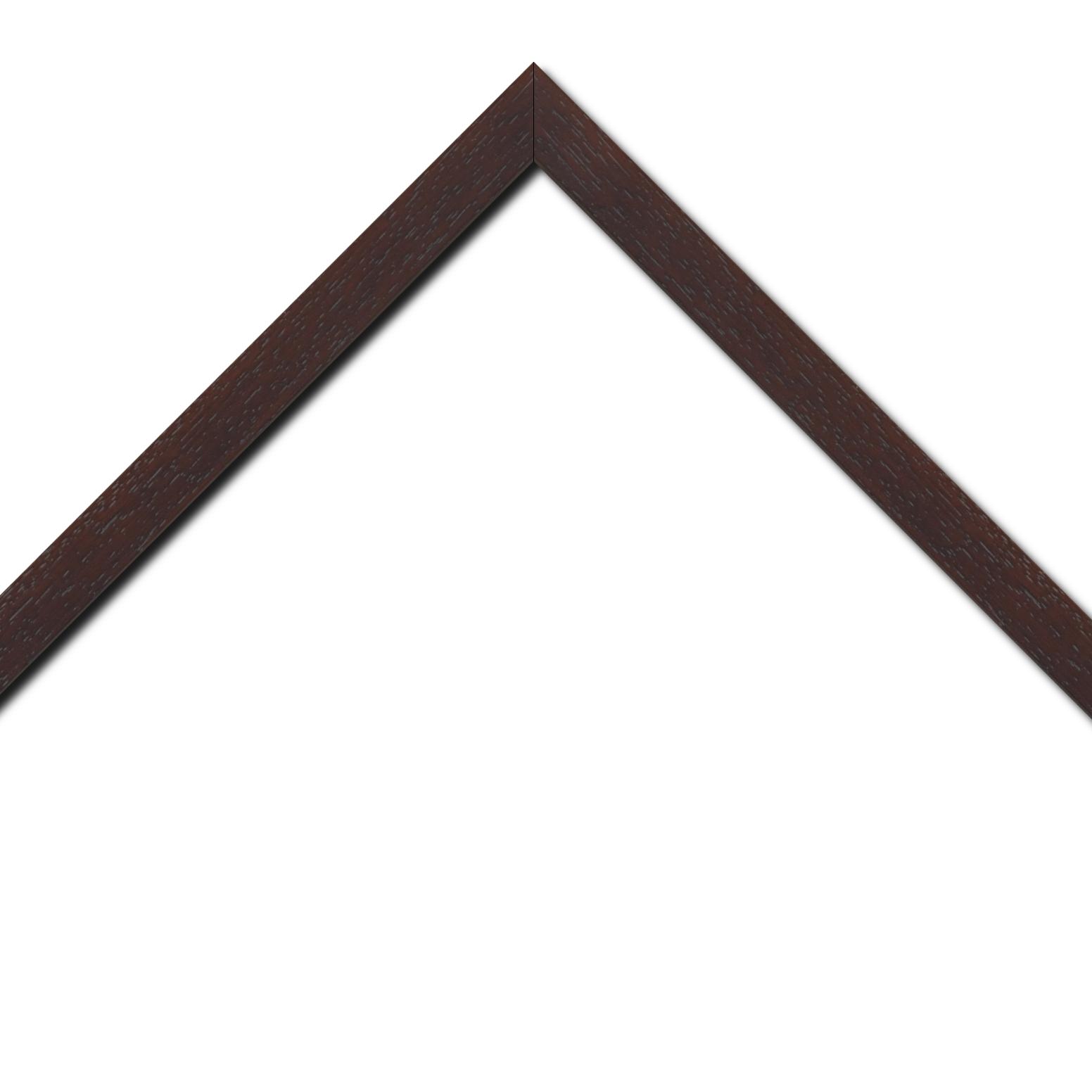 Baguette bois profil plat largeur 2cm hauteur 3.3cm marron foncé satiné (aussi appelé cache clou)