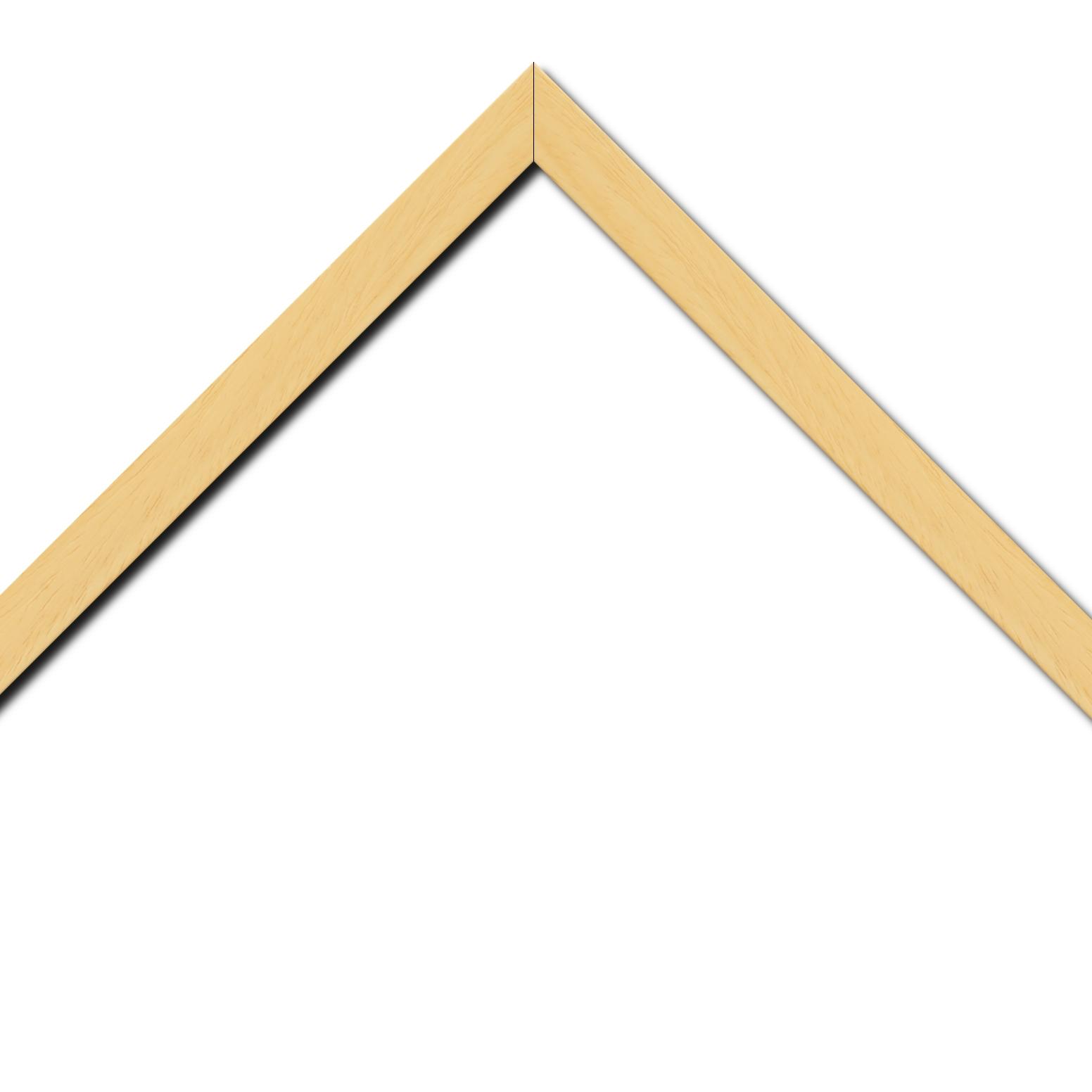 Baguette bois profil plat largeur 2cm hauteur 3.3cm couleur naturel satiné (aussi appelé cache clou)