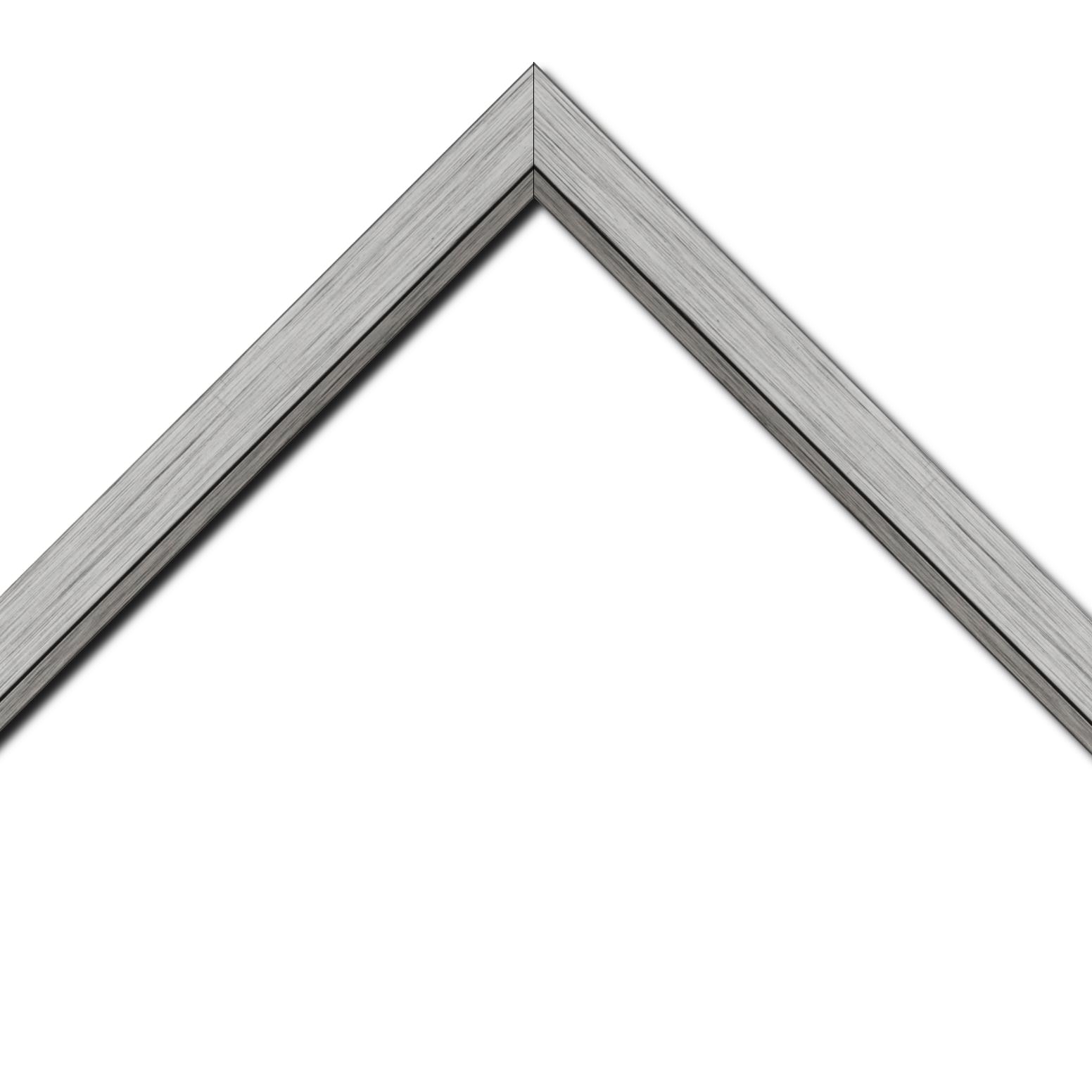 Baguette bois profil plat largeur 3.3cm couleur argent filet plomb