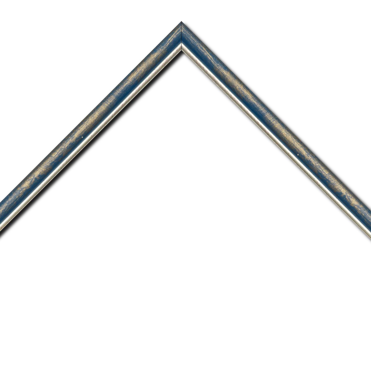 Baguette bois profil arrondi largeur 2.1cm  couleur bleu fond or filet argent chaud