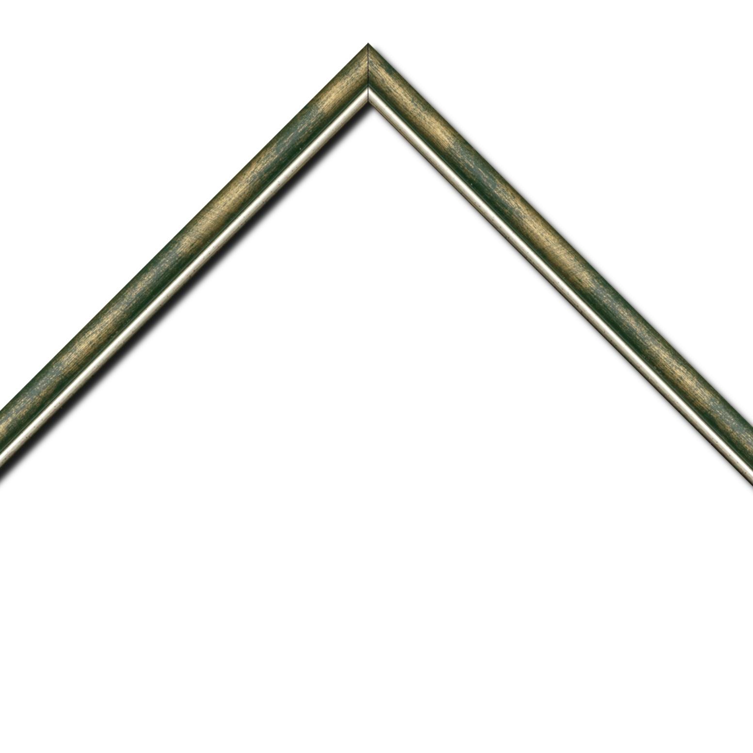 Baguette bois profil arrondi largeur 2.1cm couleur vert fond or filet argent chaud