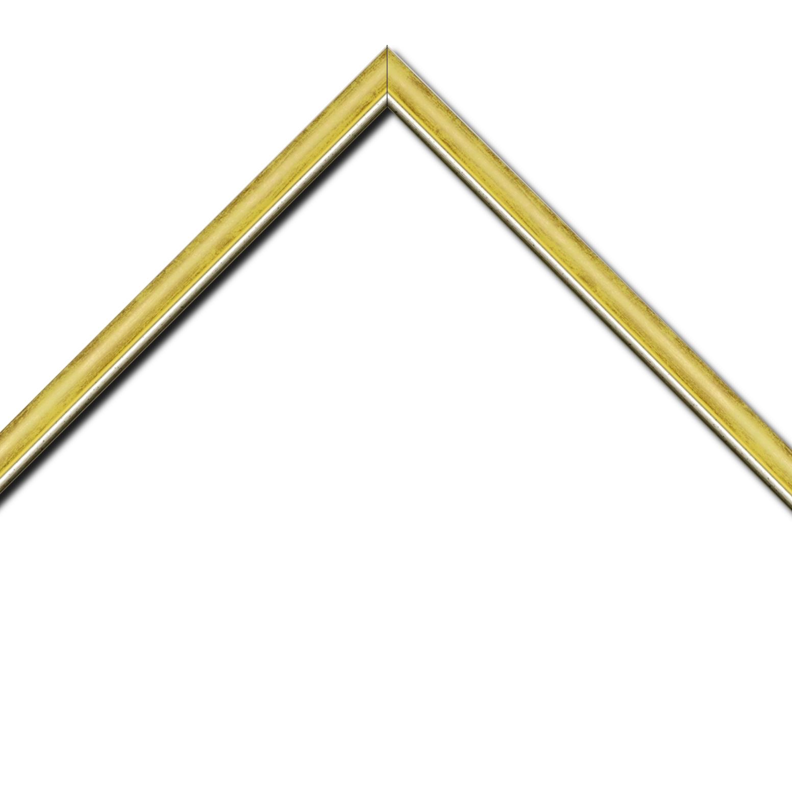 Baguette bois profil arrondi largeur 2.1cm  couleur  jaune fond or filet argent chaud
