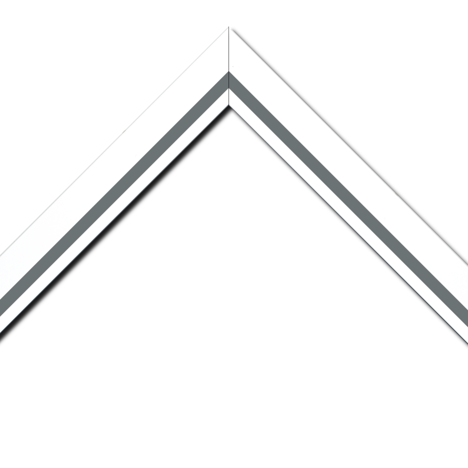 Baguette bois profil pente largeur 4.5cm de couleur blanc mat filet gris