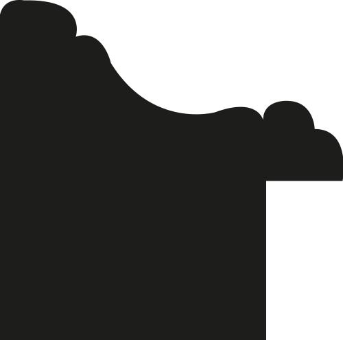 Baguette bois profil incuvé largeur 2.4cm or antique gorge noir filet perle or