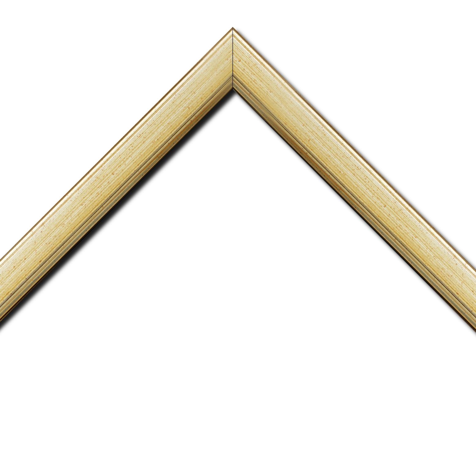 Baguette bois profil plat largeur 3.5cm couleur argent chaud filet argent