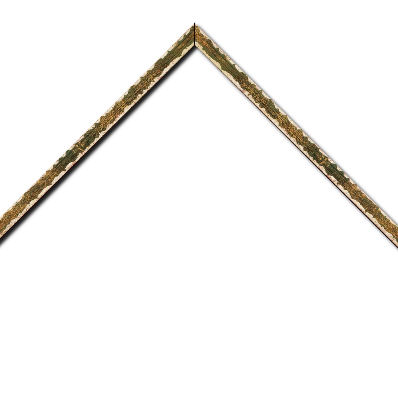 Baguette bois profil plat largeur 1.5cm couleur vert fond or ,bord or déstructuré ( extérieur du cadre ton bois marron)