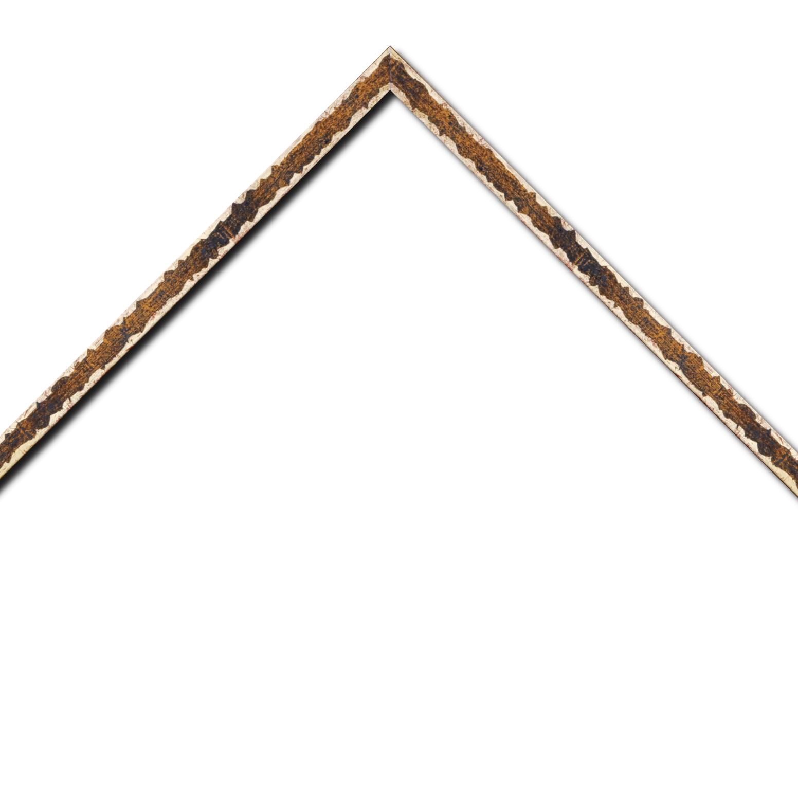 Baguette bois profil plat largeur 1.5cm couleur bleu fond or ,bord or déstructuré ( extérieur du cadre ton bois marron)