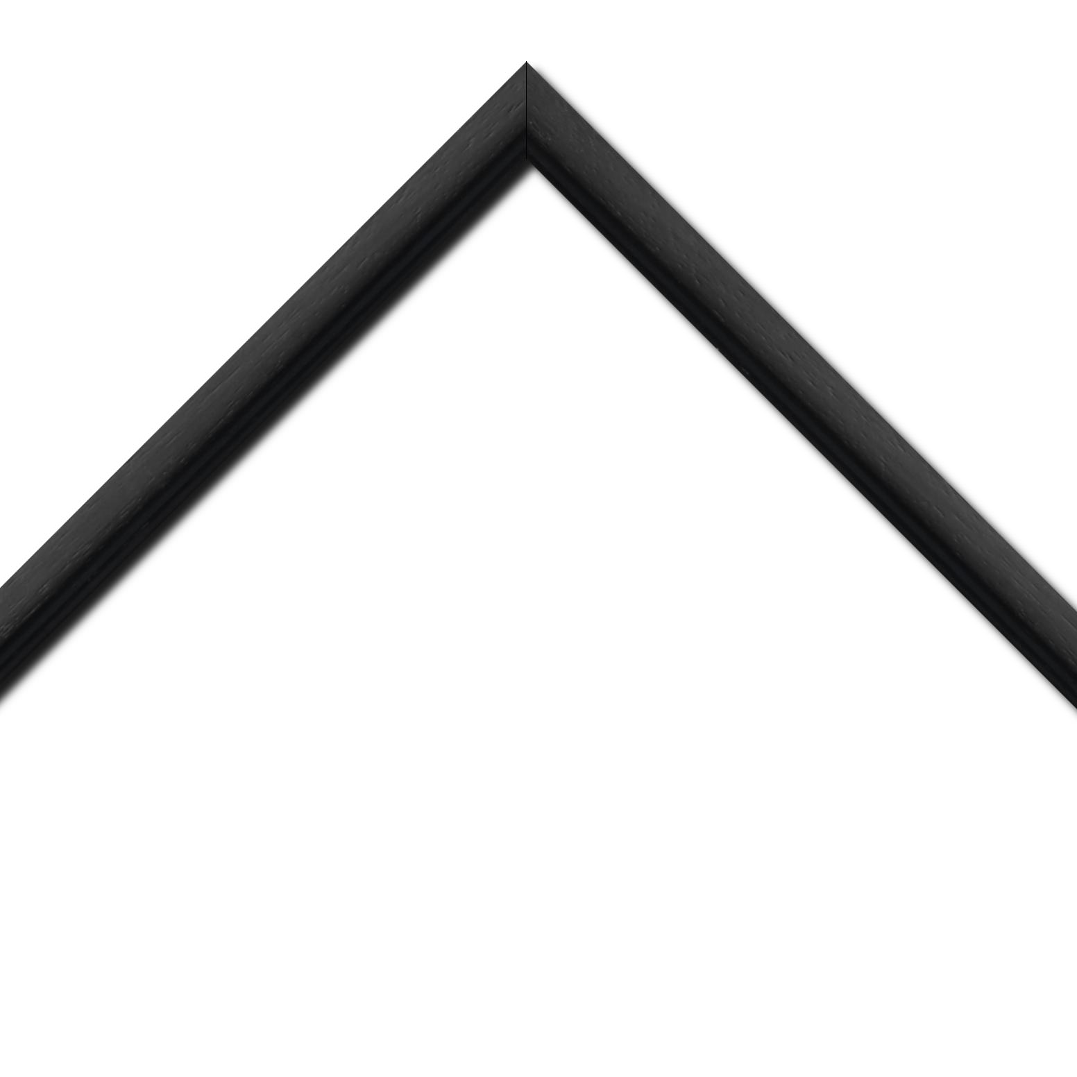 Baguette bois profil bombé largeur 2.4cm couleur noir satiné