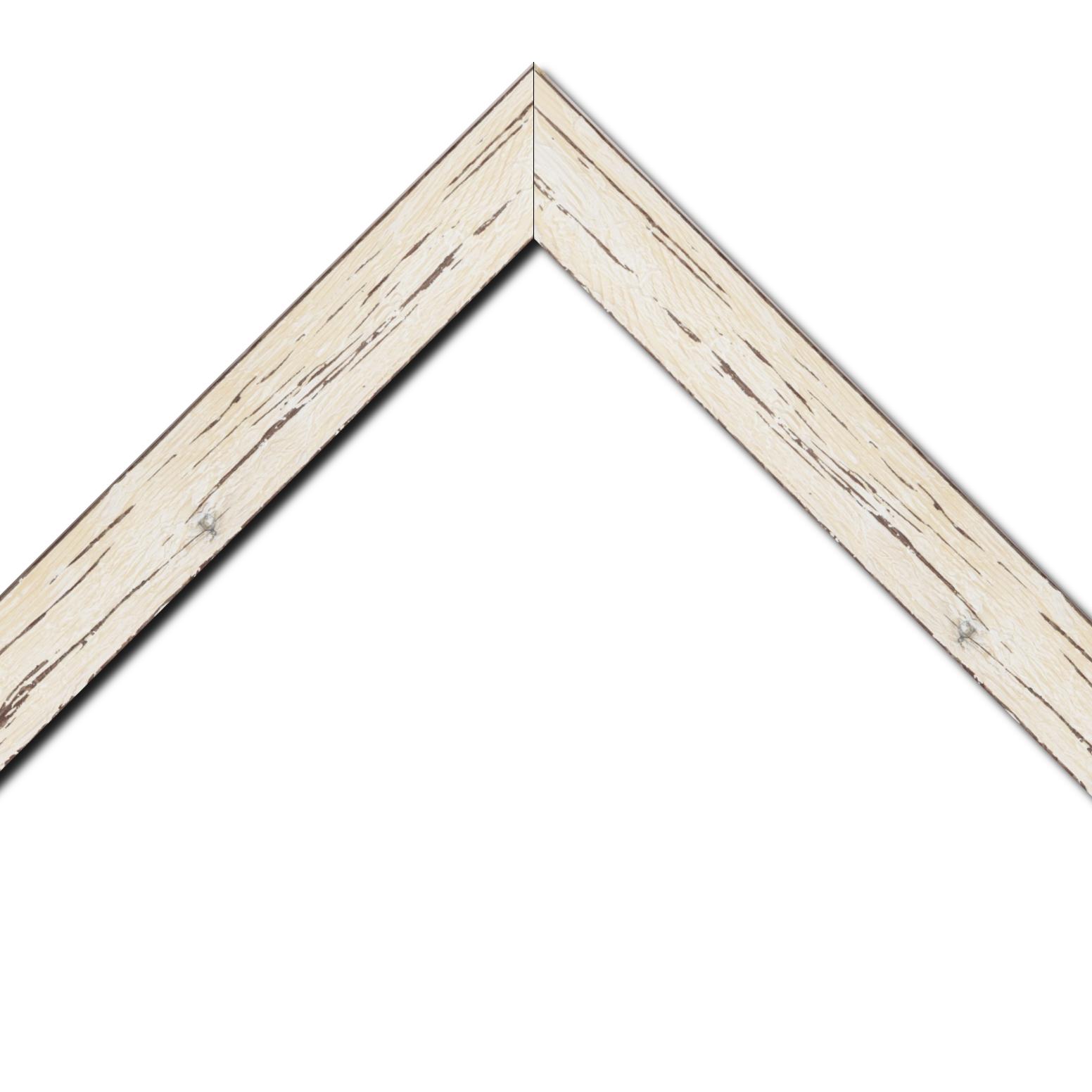 Baguette bois profil plat largeur 4.3cm couleur blanchie finition aspect vieilli antique