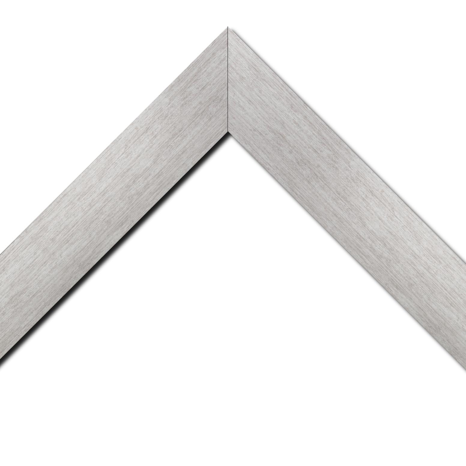Baguette bois profil plat largeur 6cm couleur argent contemporain satiné haut de gamme