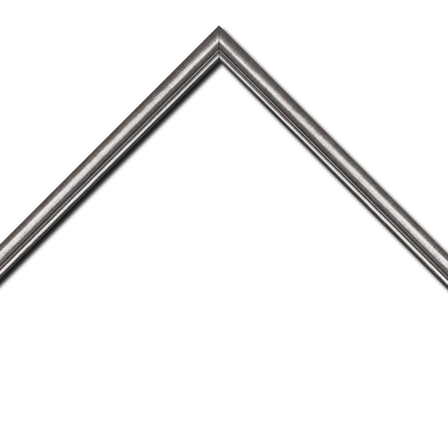 Baguette bois profil arrondi largeur 2.1cm couleur plomb filet plomb