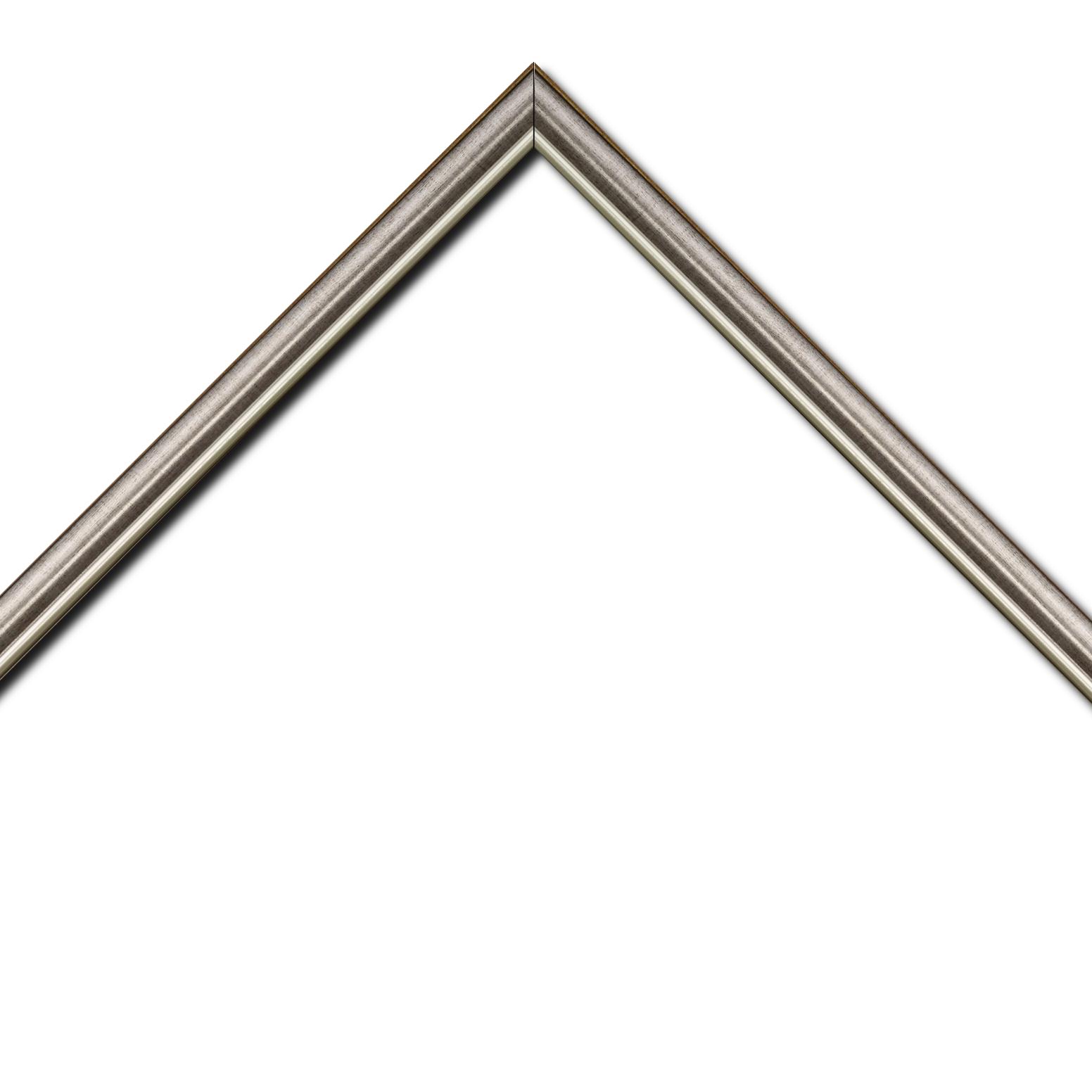 Baguette bois profil arrondi largeur 2.1cm  couleur plomb filet argent chaud