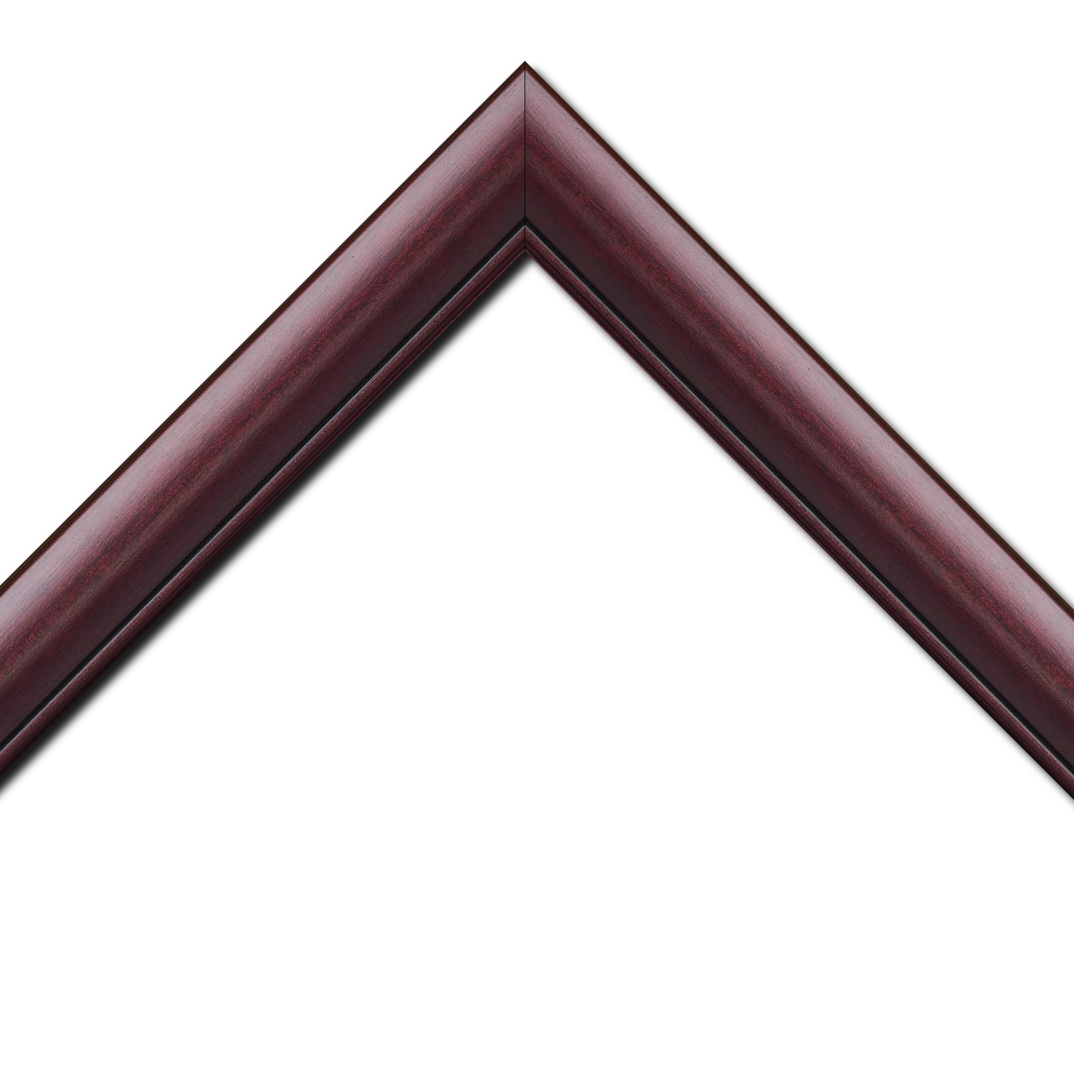 Baguette bois profil arrondi largeur 4.7cm couleur bordeaux lie de vin satiné rehaussé d'un filet noir