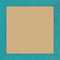 Cadre bois profil plat largeur 2.5cm couleur bleu turquoise satiné - 15x20