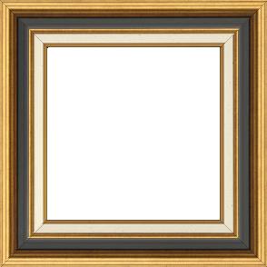 Cadre bois largeur 5.2cm or gorge noire marie louise crème filet or intégrée - 50x50