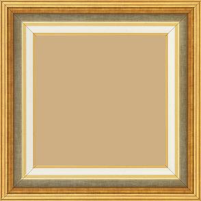 Cadre bois largeur 5.2cm or gorge champagne  marie louise crème filet or intégrée - 15x20