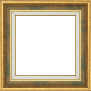 Cadre bois largeur 5.2cm or gorge vert fond or marie louise crème filet or intégrée - 50x50