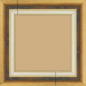 Cadre bois largeur 5.2cm or gorge bleu fond or marie louise crème filet or intégrée - 70x90